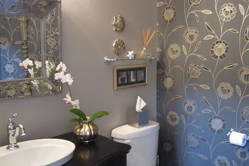обои в ванной, дизайн стен